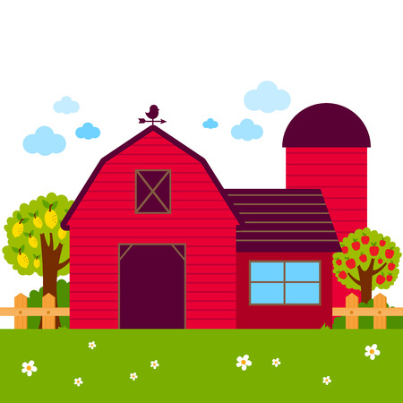 Landscape with barn, farmhouse, fence and orchard trees.