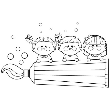 Children with healthy teeth holding a toothpaste. Black and white coloring book page. Illustration