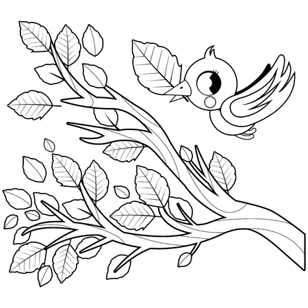 Bird and tree branch with leaves. Black and white coloring book page Ilustração