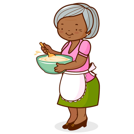 An old black woman, holding a bowl and cooking. Vector illustration Çizim