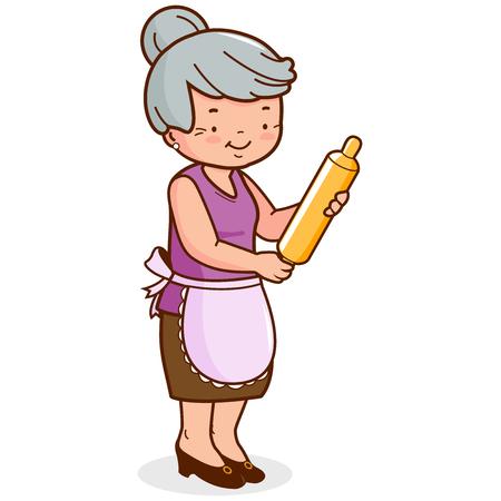 Una vecchia, con in mano un mattarello e cucinare. Illustrazione vettoriale