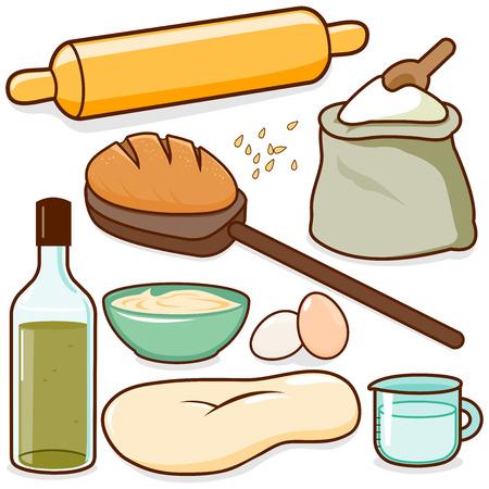 Backzutaten wie Nudelholz, Teig, Mehl und Eier. Vektor-illustration