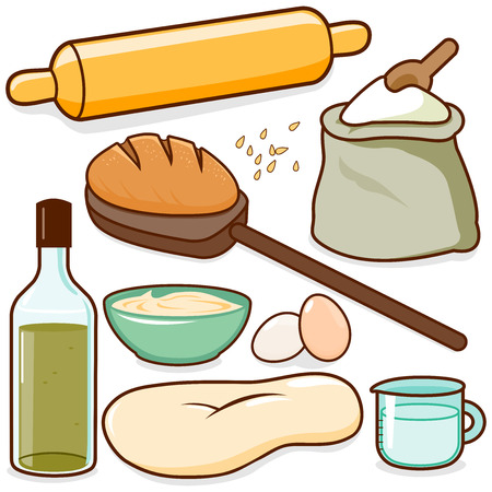 Bread baking ingredients including a rolling pin, dough, flour and eggs. Vector illustration Illustration