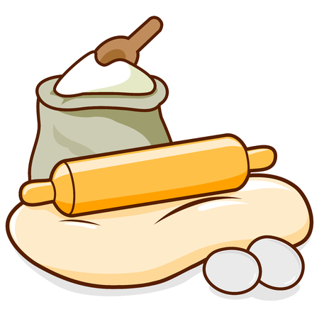 Bread baking ingredients. A rolling pin rolling out dough, flour and eggs. Vector illustration