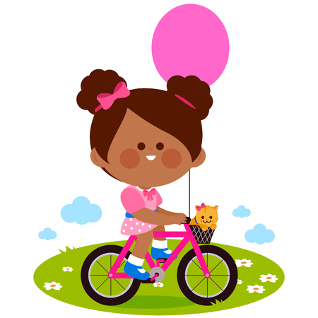 Happy little girl riding a bicycle with balloon and cat at the park vector illustration