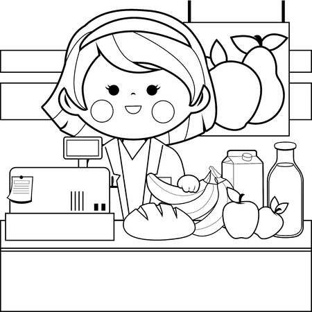 Grocery store employee at the counter in black and white coloring book page