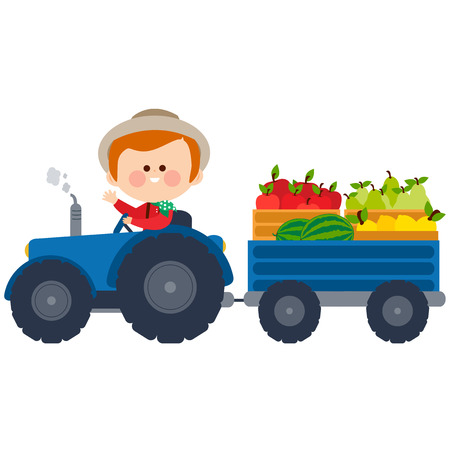 Farmer driving a tractor with fruits