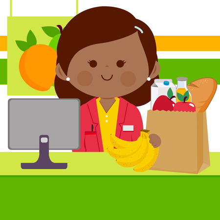 Online supermarket employee at the counter with computer and a shopping bag with groceries.