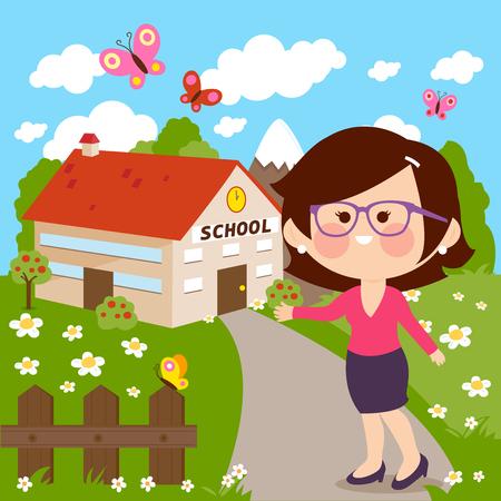 Teacher in front of school building illustration.