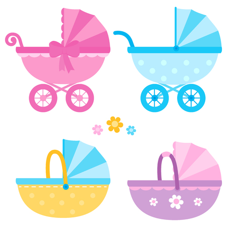 Baby strollers in blue, yellow and pink colors. Vector collection Stock Illustratie