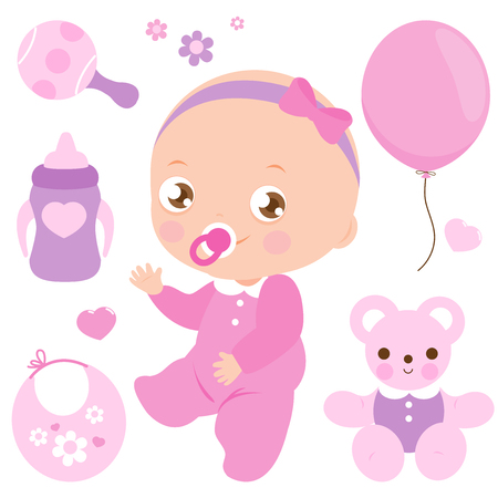 Baby girl and accessories vector collection