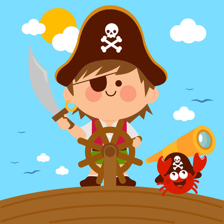 Pirate boy captain sailing on ship with steering wheel