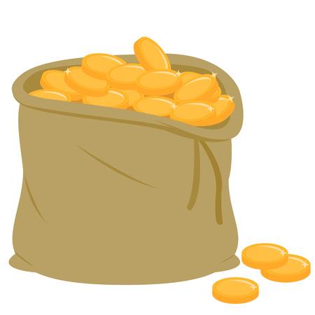 Burlap sack full of gold coins. Vector illustration