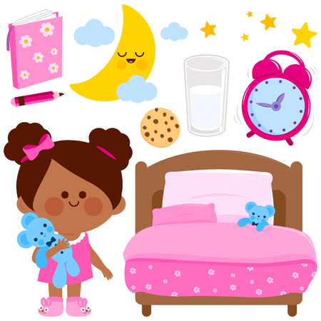 Cute girl getting ready for bed at night. Vector illustration elements Illustration
