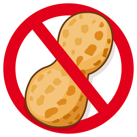 Peanut in red prohibition sign. Vector symbol promoting peanut free food. Vettoriali