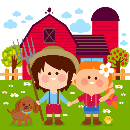 Little farmer boy and girl at the farm with dog, chicken, barn, farmhouse, fence and trees. Vector illustration