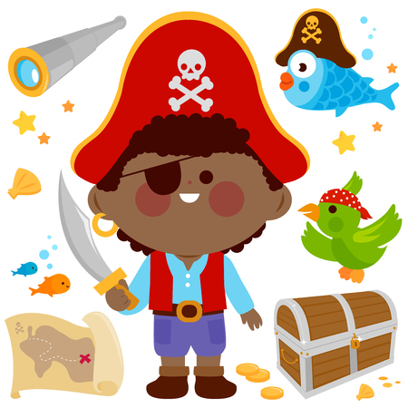 Vector set of a pirate captain boy with a sword and other pirate themed illustrations. Çizim