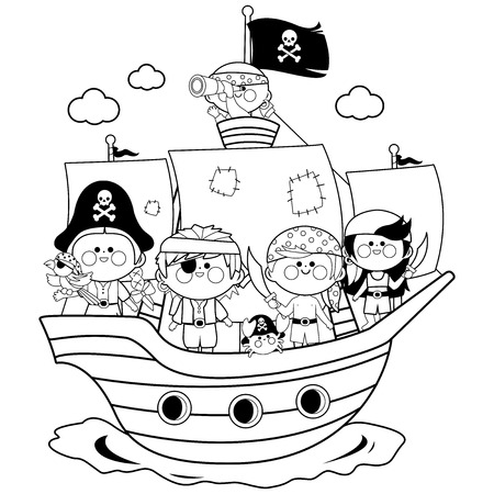 Pirate boys and girls sailing on a ship at the sea. Black and white coloring book page Stok Fotoğraf - 101555478
