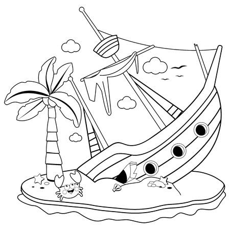 Naufragio su un'isola. Pagina del libro da colorare in bianco e nero