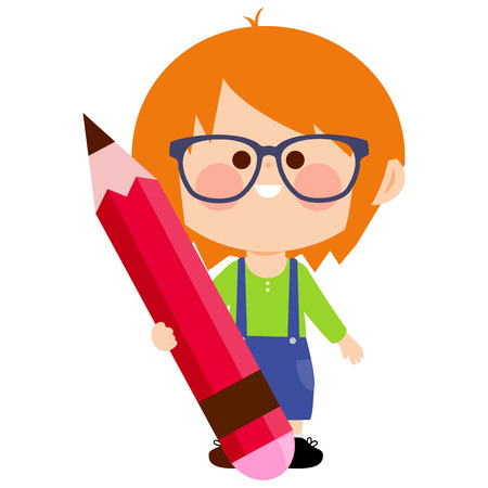 Child holding a big red, pencil Ilustracja