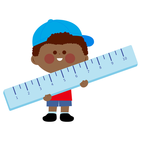Little boy student holding a big ruler. Vector illustration