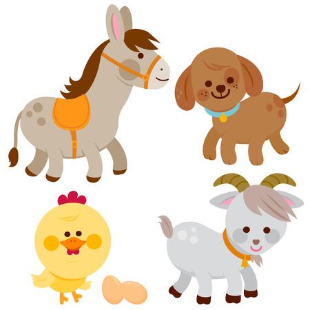 Farm animals: donkey, dog, chicken and goat