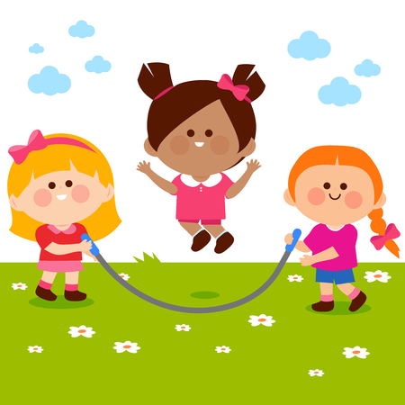 Happy children skipping rope and playing. Vector illustration