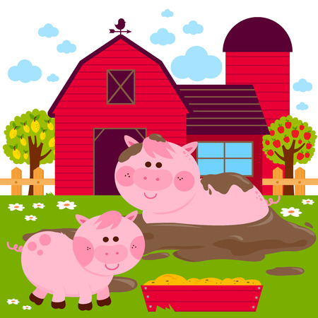 Pigs at the farm playing in a mud puddle. Vector illustration