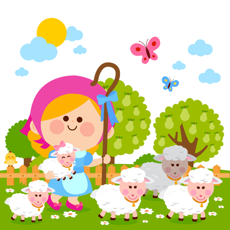 Little shepherdess girl with sheep. Vector illustration