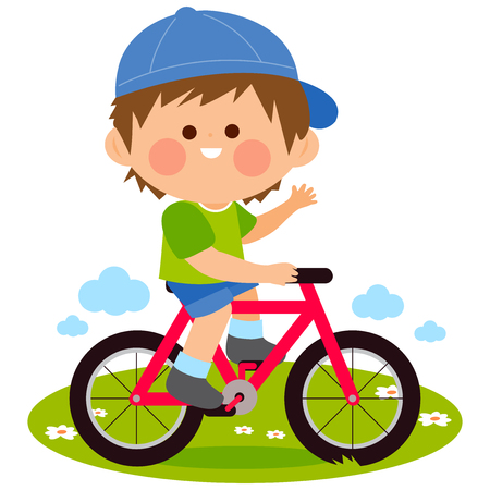 Happy little boy riding a bicycle at the park. Vector illustration Illustration