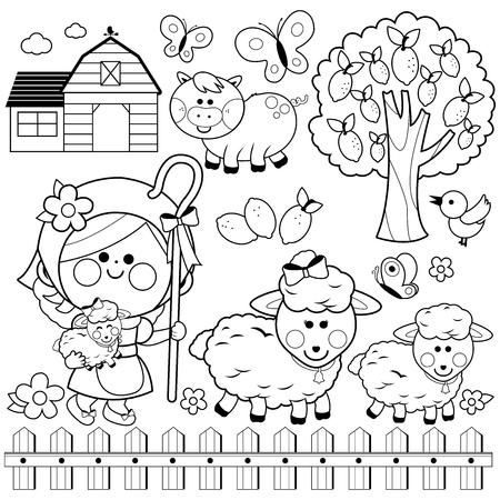 Herderinnetje meisje en dieren op de boerderij, zwart-wit fotoboekpagina kleurplaten Vector Illustratie