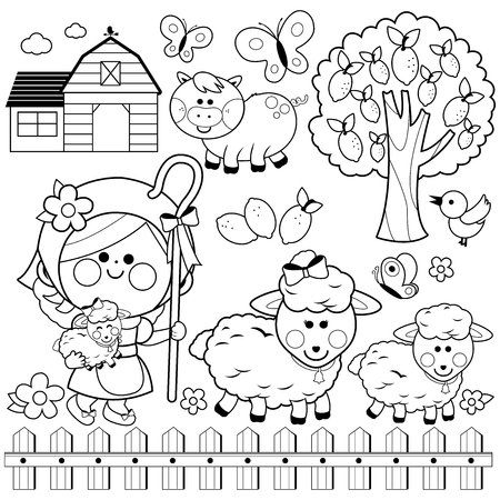 Shepherdess girl and animals at the farm, Black and white coloring book page