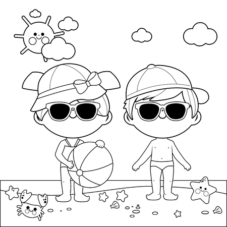 Children at the beach with hats and sunglasses. Black and white coloring book page