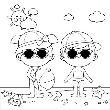 Kinderen op het strand met hoeden en zonnebrillen. Zwart-wit kleurboekpagina
