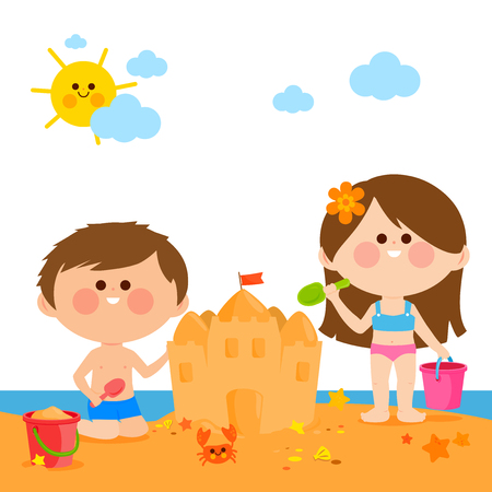 Children at the beach building a sandcastle Illustration