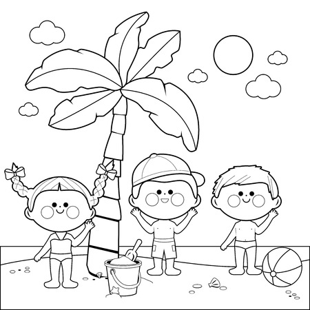 Children at the beach playing under a palm tree. Black and white coloring book page