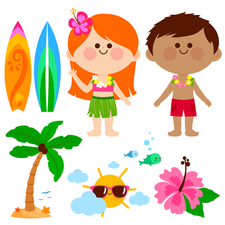 Hawaiian boy and girl kids with swimsuits and other beach summer vacation design elements.
