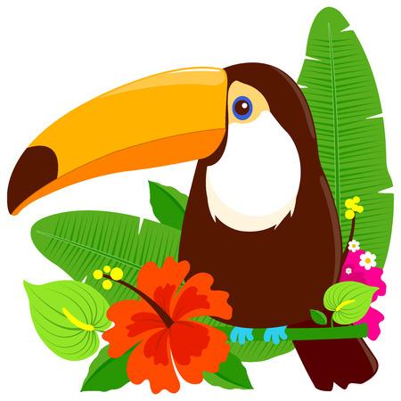 Tropisches Sommerarrangement mit Tukanvogel und exotischen Pflanzen.