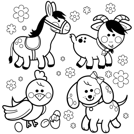 Vector collection of farm animals: A donkey, a dog, a goat and chicken. Black and white coloring book page Ilustração