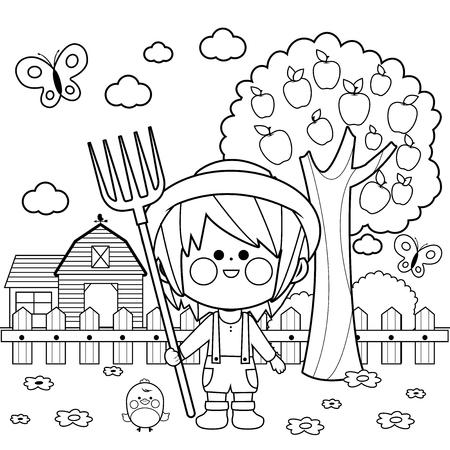 Niño granjero en la granja con granero, casa de campo, valla y manzano. Página de libro para colorear en blanco y negro