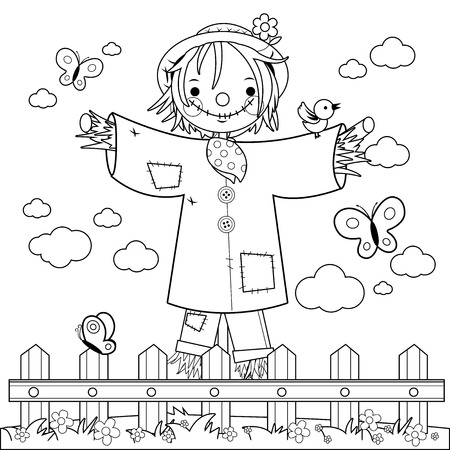 Scarecrow in the field behind a wooden fence. Black and white coloring book page