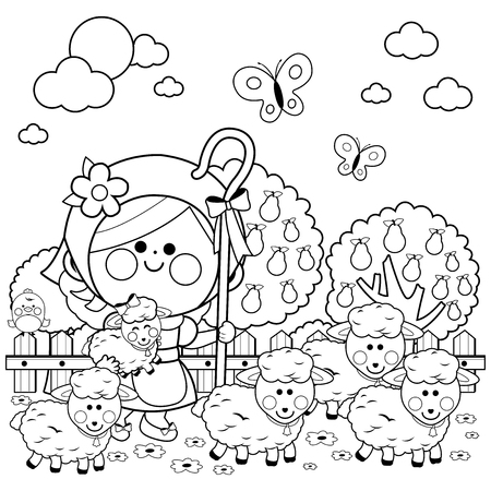 Girl shepherdess and sheep at the farm. Black and white coloring book page