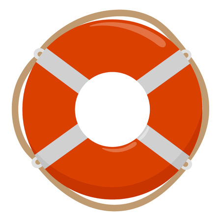 Life buoy with rope on white background. Vector illustration