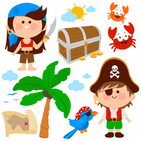 Vector set of children dressed as pirates and other pirate theme illustrations. 일러스트