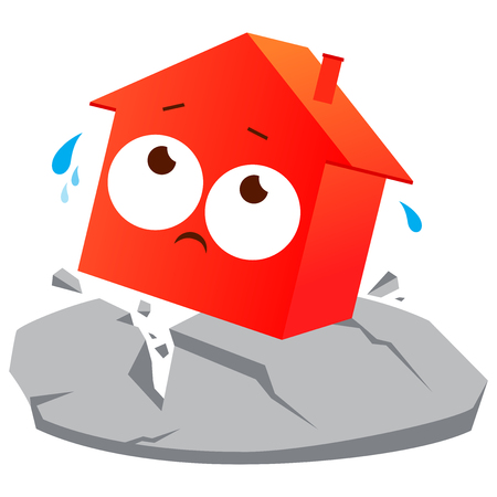 House suffering from earthquake. Vector illustration Illustration