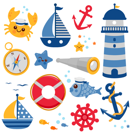 Set of sailor and nautical vector illustrations.