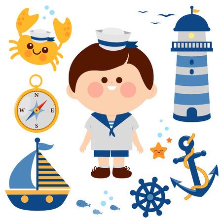 Garçon habillé en tenue de marin nautique et jeu de vecteur nautique.