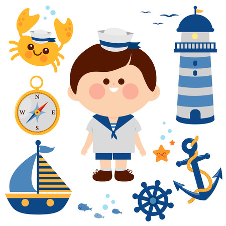 Boy dressed in nautical sailor outfit and nautical vector set.