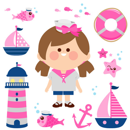 Girl dressed in nautical sailor outfit and nautical vector set. Illustration