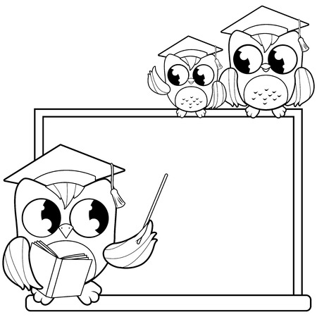 Owl teacher pointing at chalkboard and students at classroom. Black and white coloring book page Ilustração
